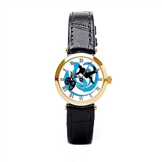 Piel reloj de pulsera reloj bandas Extreme Racer para mujer piel banda: Amazon.es: Relojes