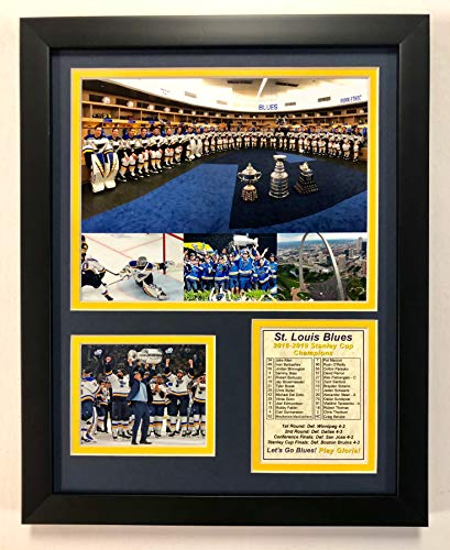 Legends Never Die NHL St. Louis Blues Stanley Cup Champions Framed Double Matted Photos, Collage, 12