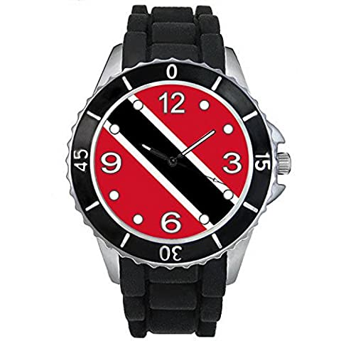 BMSC004 Trinidad and Tobago Flag Mens Ladies Black Jelly Silicone Band Wrist Watch (Citizen Flag Band)