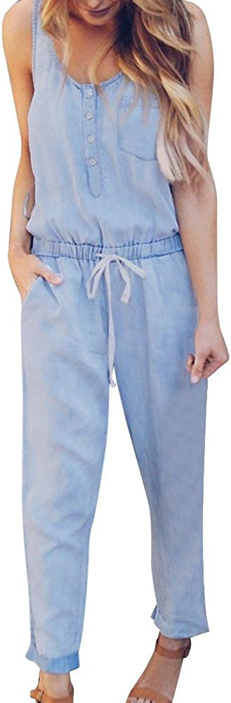 Therasoon Womens Long Pant Outfit Jumpsuits Strappy Elastic Waist Jeans Demin Pants Jumpsuit Romper