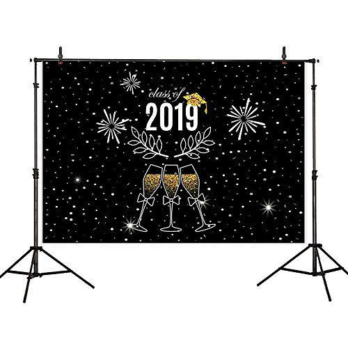 Allenjoy 7x5ft Night Stars Class of 2019 Photography Backdrop Background Black Ivy Golden Wine Glass Photograph Backgrounds for Graduation Party Decorations Photo Studio Booth Props Cake Table Banner -