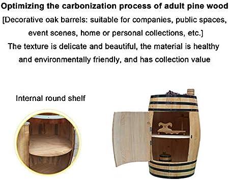 Household goods Vinoteca de barrica de Roble Decorada, Armario de exhibición de Barril Decorado Bodega de Barril de Madera, Decoración de Bodega de Almacenamiento de exhibición de Madera Natural