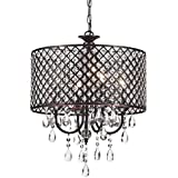 round black chandelier industrial edvivi marya 4lights oil rubbed bronze round crystal chandelier ceiling fixture beaded drum black chandeliers amazoncom