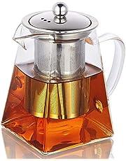 Szklane dzbanki do herbaty ze zdejmowanym zaparzaczem, wysoki dzbanek ze szkła borokrzemowego z płytką do odkręcania w kwadratowym kształcie, sitko ze stali nierdzewnej i pokrywka ze stali nierdzewnej – sejf na płytę kuchenną
