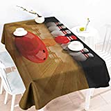 EwaskyOnline Washable Tablecloth,Bowling Party Alley with Red Skittle in Center Target Score Winning Competition,Resistant/Spill-Proof/Waterproof Table Cover,W60X102L, Pale Brown Red White