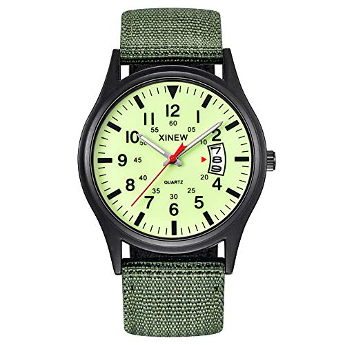 Dial Canvas - Alamana Sport Men Calendar Round Dial Canvas Strap Band Analog Quartz Wrist Watch Gift - Fluorescent Green