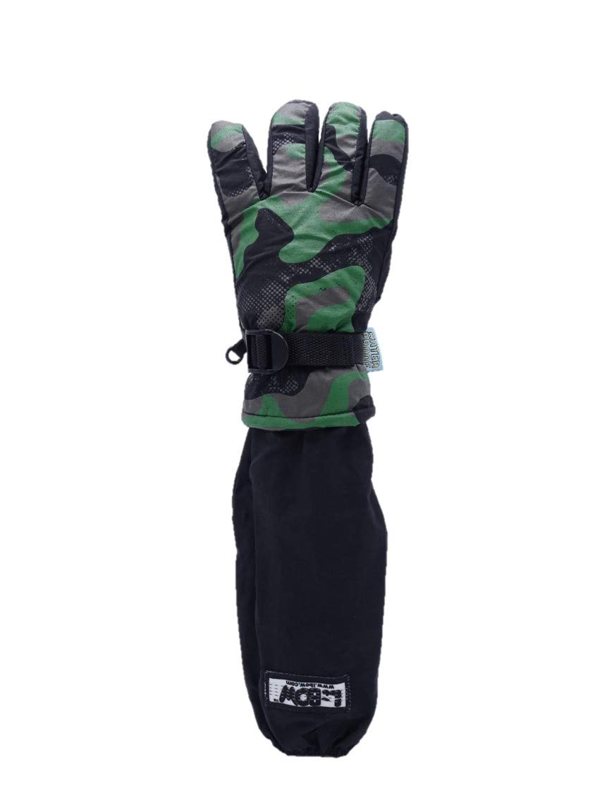 L-Bow Kids Camo Cold Weather Waterproof Elbow Length Glove (Green, Medium)