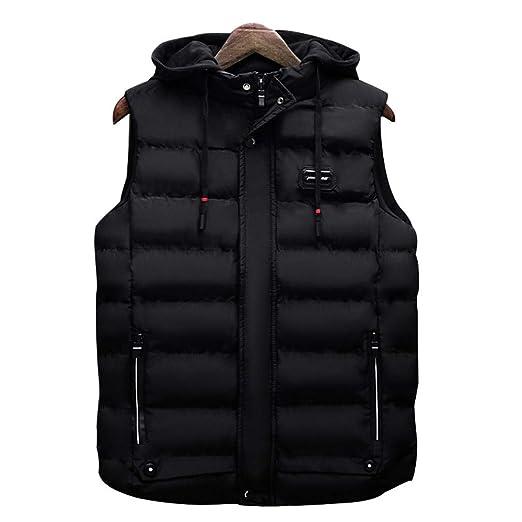 a16f8f08378 MEI Guihua Men Fashion Vest Casual Cotton-Padded Waistcoat Sleeveless  Jacket Coat Black L