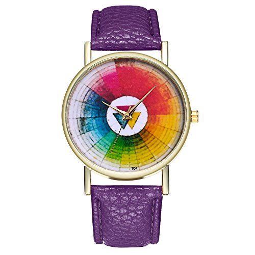 (Anself Vintage Color Wheel Swatches Classic Style Leather Watch for Women Men's Watch Birthday Wedding Gift Ideas T04)