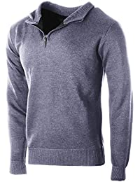 Men's Sophisticated Mid Zip Up Slim Fit Long Sleeve Turtleneck Sweater