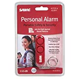 SABRE Personal Self-Defense Safety Alarm on Key Ring with LOUD Dual Alarm Siren Heard up to 600 ft/185 meters Away. To Use, Pull Metal Chain from Base