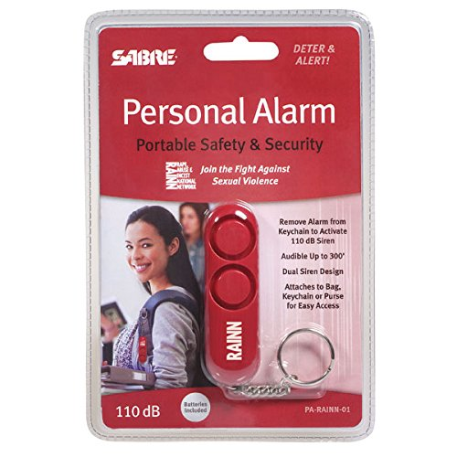 SABRE-Personal-Self-Defense-Safety-Alarm-on-Key-Ring-with-LOUD-Dual-Alarm-Siren-Heard-up-to-600-ft185-meters-Away-To-Use-Pull-Metal-Chain-from-Base