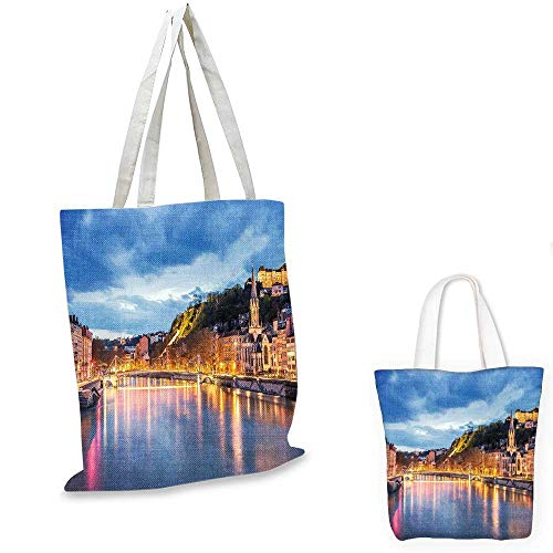 European thin shopping bag View of Saone River in Lyon City at Evening France Blue Hour Historic Buildings canvas tote bagMulticolor. 12