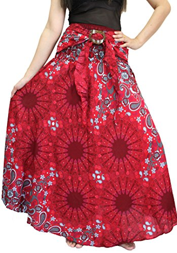 STREET PANTS Bohemian Skirt Flower Style For Women Hippie And Maxi Skirt Size 0-12 US (Red4)