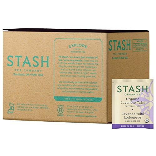 Stash Tea Organic Lavender Tulsi Herbal Tea 100 Count Tea Bags in Foil (Packaging May Vary) (Packaging May Vary) Individual Herbal Tea Bags for Use in Teapots Mugs or Cups, Brew Hot Tea or Iced Tea