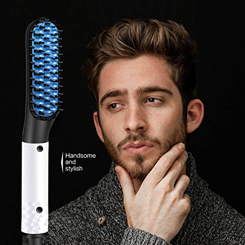 Quick Beard Straightener Brush, Electric Hair Straightening Comb Styling Comb Hair Straightener Heat Brush Magic Massage Comb Electric Hair Tool for Men