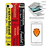 000153 - Funky Deutschland Flag German Cities Berlin Hamburg,, Design iphone 5 5S /SE Complete 360%B0 Degrees Hard Plastic Protection Case Cover +Tempered Glass Screen