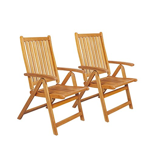 Northlight Set of 2 Brown Acacia Folding Chairs Outdoor Patio Furniture 42″