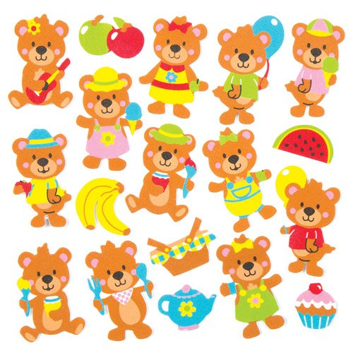 Baker Ross Teddy Bears Picnic Foam Stickers (Pack of 120) For Kids to Decorate, Arts and Crafts