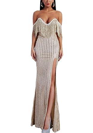 Women s Sexy Elegant V Neck Off Shoulder Tassel Glitter Split Maxi Dress  Gold S cf1f17ac2