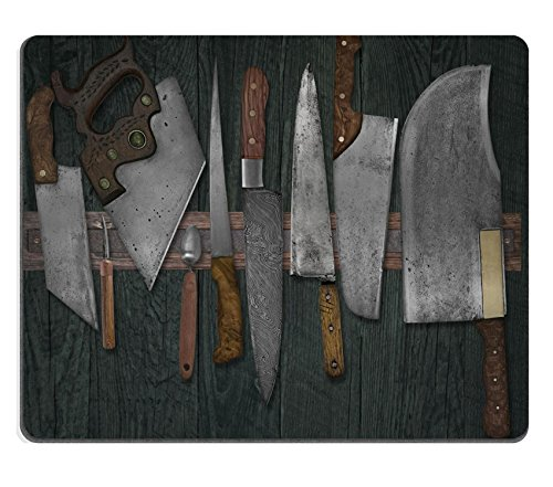 Price comparison product image Liili Mouse Pad Natural Rubber Mousepad IMAGE ID 33530619 vintage set of knives on the magnet rack against wall faded colors