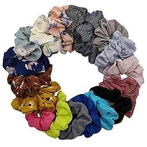 DA2S Scrunchies for Hair Velvet Elastic Ties Women FQ001 Mix 18pcs
