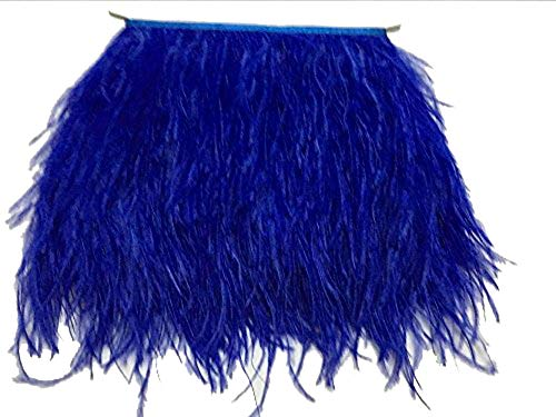 ADAMAI Natural Ostrich Feathers Trims Fringe DIY Dress Sewing Crafts Costumes Decoration Pack of 5 Yards (Blue)]()
