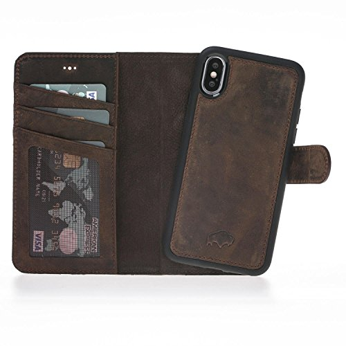 Burkley Magnetic Detachable Leather Wallet Case for iPhone X - Antique Coffee