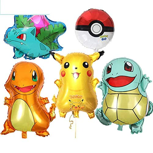 Large 5-Pack Balloon, Pikachu & Friends For Pokemon Birthday Party