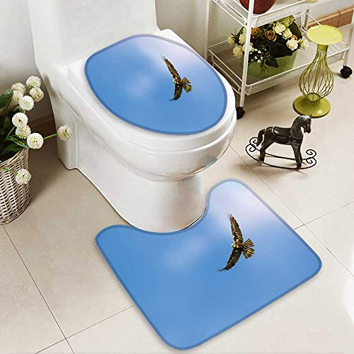 Analisahome Toilet carpet floor mat hawk flying blue sky background 2 Piece Shower Mat ()