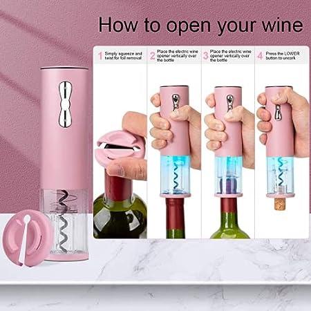Ubqtwe Sacacorchos de Vino Recargable, sacacorchos de Vino eléctrico, sacacorchos de Corte de Aluminio de Aluminio, Barra incorporada para Amantes del Vino