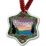 Christmas Ornament Lake retro design Lake Keowee - Neonblond