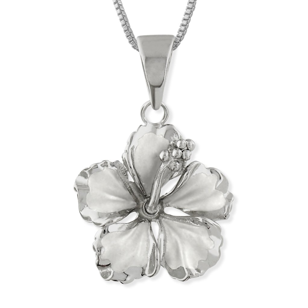 Amazon sterling silver 17mm hibiscus pendant necklace 162 amazon sterling silver 17mm hibiscus pendant necklace 162 extender jewelry izmirmasajfo