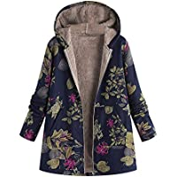 Zackate Womens Winter Warm Outwear, Floral Print Hooded Pockets Vintage Oversize Coats Down Jacket