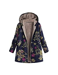 WOCACHI Womens Floral Coats Warm Faux Plush Vintage Jackets Hooded Outerwear