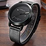 Men Fashion Stainless Steel Quartz Military Sport Leather Date Dial Wrist Watch
