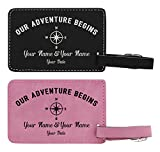 Personalized Names & Date Adventure 2-pack Laser Engraved Leather Customized Luggage Tags Pink & Black
