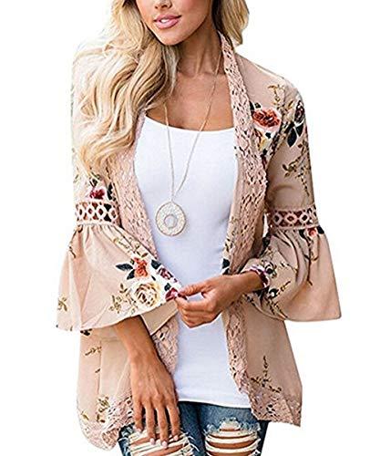 Floral Kimono Top (Women Floral Kimono Cardigan Half Sleeve Lace Chiffon Loose Casual Open Front Cover up Khaki-5 L)