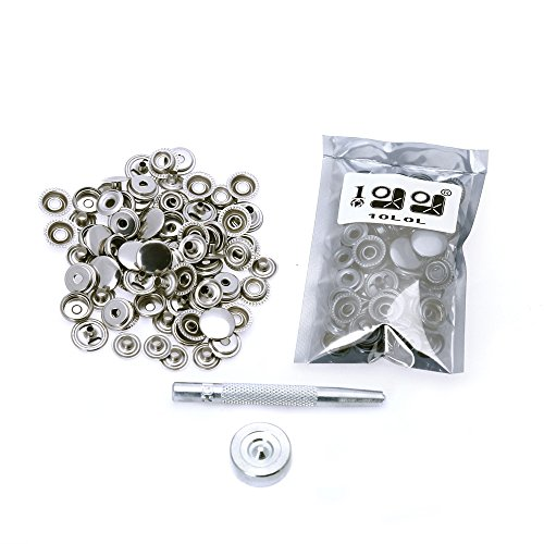 Review Snaps Buttons,15mm Leathercraft Silver Snap Press Studs Jacket Snap Fasteners Poppers Sewing ...