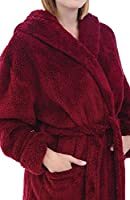Alexander Del Rossa Women's Plush Fleece Robe with Hood, Long Warm Solid Bathrobe