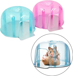 POPETPOP Chinchilla Cooling House-2 Pack Hamster House Summer Cooling Mini Hamster Igloo Pet Cool Plastic Small House for Kitten Hamster Chinchilla and Other Small Pets