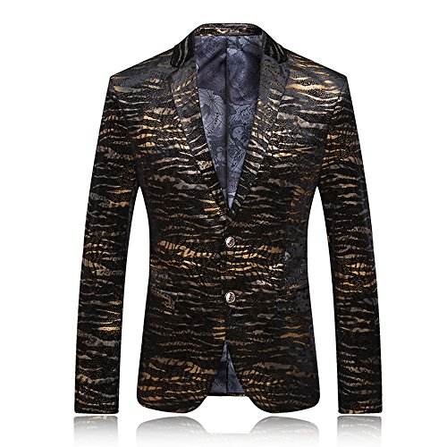 Mens Handsome Tiger Stripes Stage Sport Coat US Size 40 (Label Size 3XL) Black Gold
