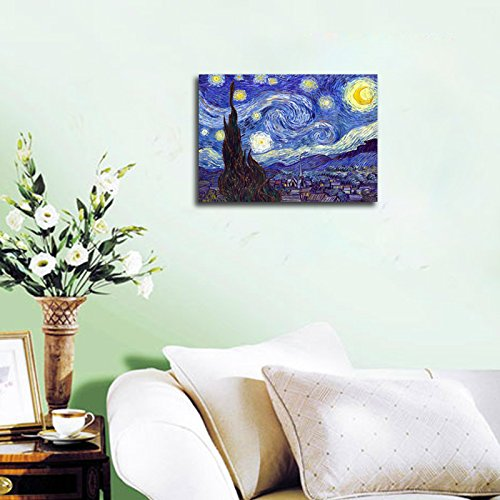 Wieco Art – Starry Night by Van Gogh Famous Oil Paintings Reproduction Modern Giclee Canvas Prints Artwork Abstract Landscape Pictures Printed on Canvas Wall Art for Home Office Decorations
