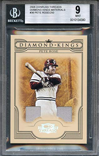 2008 donruss threads diamond kings materials #36 PETE ROSE cincinnati reds BGS 9 Graded Card (Diamond Threads)