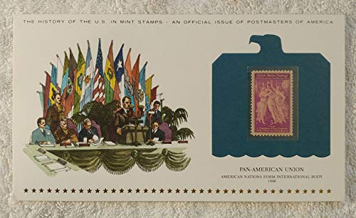 Pan-American Union - American Nations Form International Body - Postage Stamp (1940) & Art Panel - History of the United States: an official issue of Postmasters of America - Limited Edition, 1979 - Organization of American States (OAS)
