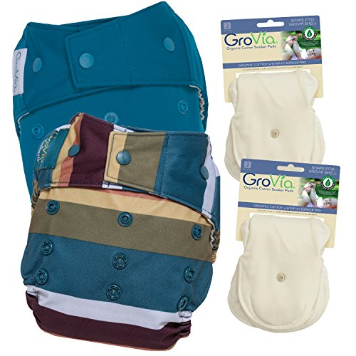 GroVia Experience Package: 2 Shells + 4 Organic Cotton Soaker Pads (Jewel + Abalone Snap) by GroVia