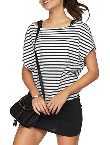 Jusfitsu Women Summer Outfits 2 Piece Dresses Casual Loose Shirt Top Print Bodycon Mini Tank Dress Off Shoulder Black Stripes L