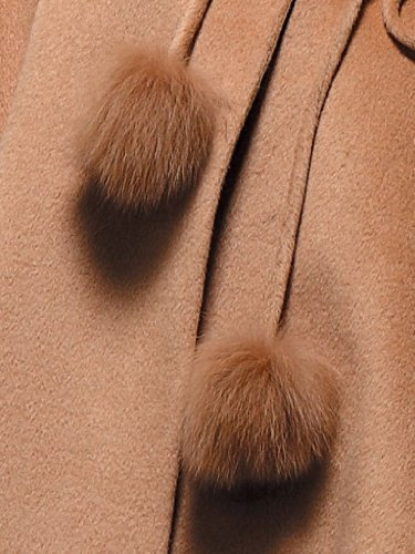 Cashmere Pashmina Group:Cashmere Cape w/genuine Fox Fur Collar & Fox pompom ties (Black) by Cashmere Pashmina Group (Image #9)