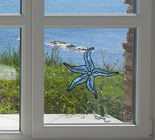 Starfish Stained Glass Style Vinyl Window Decal - Copyright Yadda-Yadda Design Co. (5