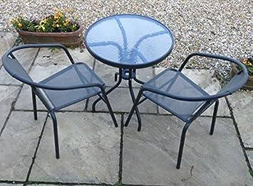 Elegant Bistro Stuhl U0026 Tisch Set Mit Stahlrahmen U2013 Garten Möbel U2013 Rund Terrasse  Tisch U0026 2
